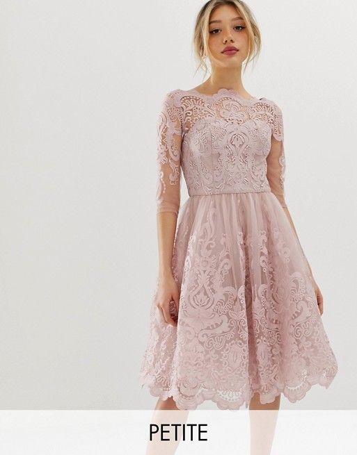 Chi Chi London Petite Premium Lace Midi Dress With 3 4 Sleeve In Mink Asos Maxi Dress Prom Lace Midi Dress Petite Midi Dress