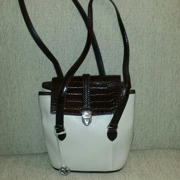 Brighton purse Brighton brown leather and off white with 16 inch straps Brighton Bags