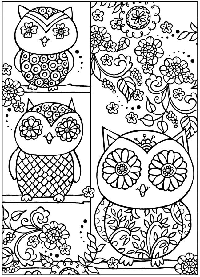 Owl color page from Dover Publications   OWLS   Pinterest   Colorear ...