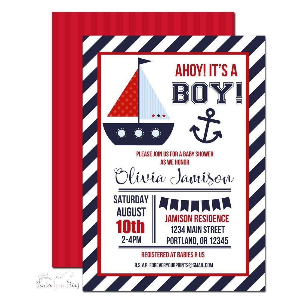 Luxury Nautical Baby Shower Invitation Ornament - Invitations and ...