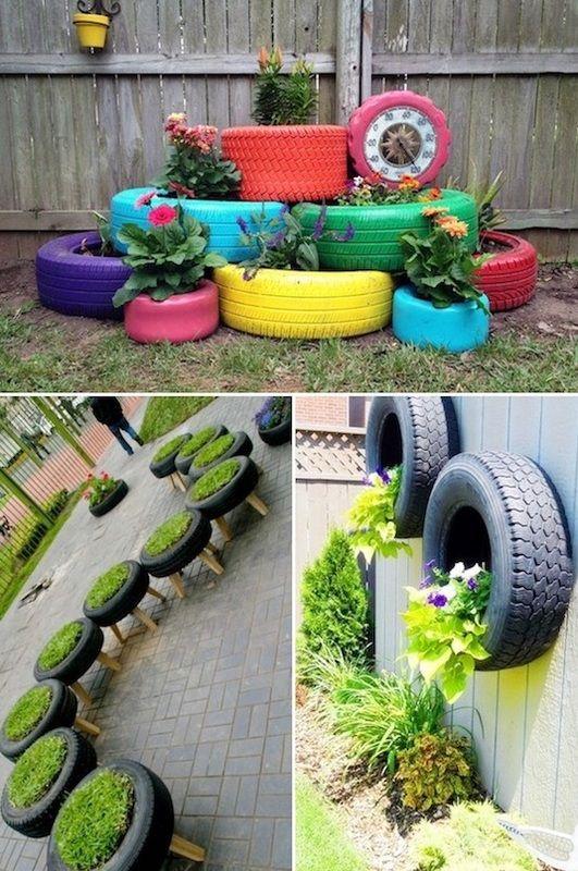 tincan planters tire planters shoe planters tin can planters - jardines con llantas