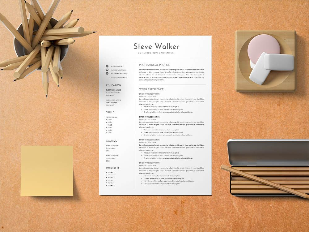 Free Construction Carpenter CV/Resume Template in 2020