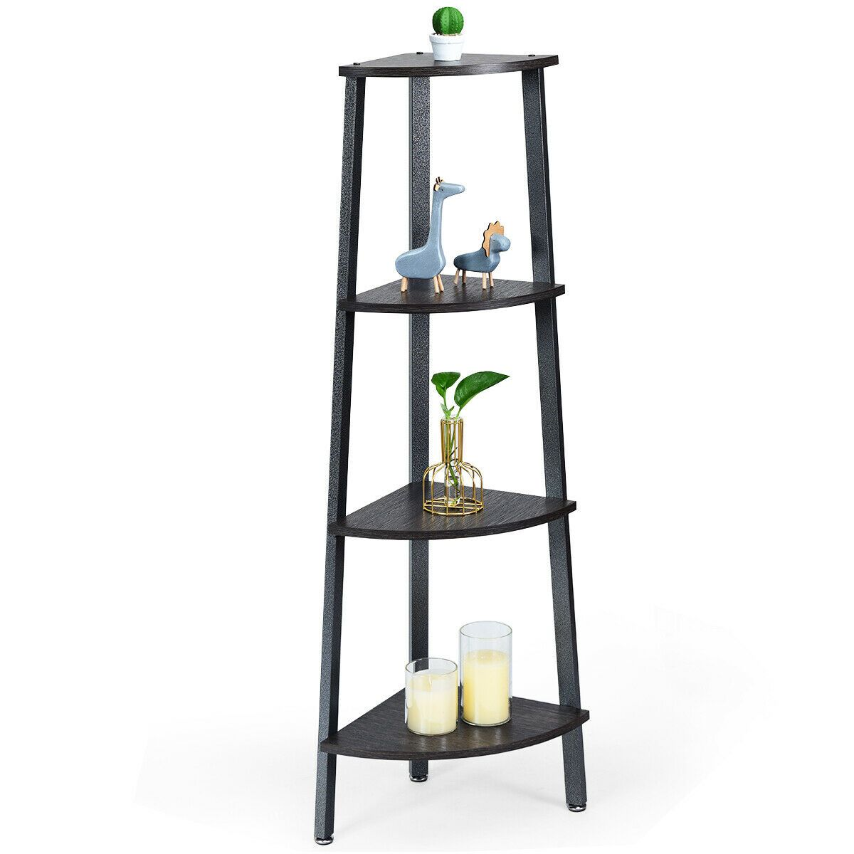 4 Tier Modern Style Display Shelf Stand Metal Corner Storage Rack Wood Black 39 99 Corner Shelves Ideas Of Corner Sh In 2020 Metal Storage Racks Bookcase Shelves