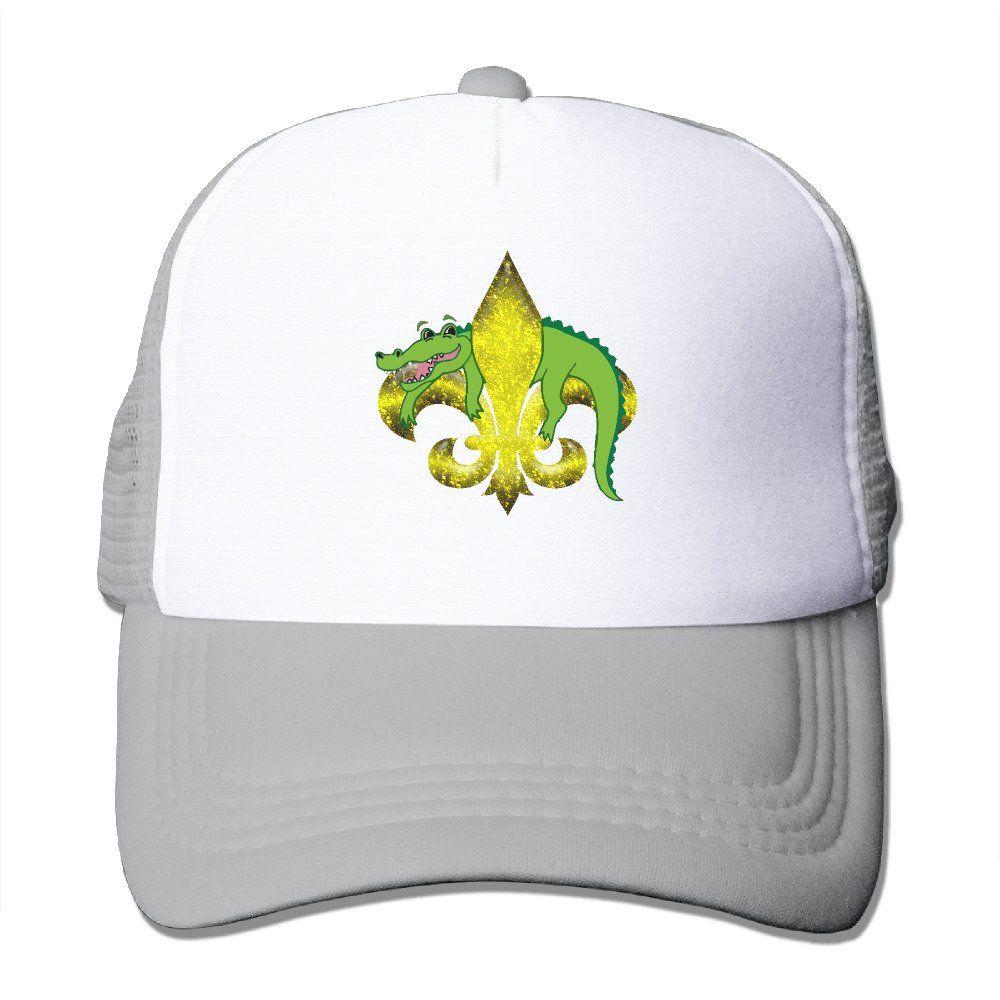 7382bf5a2e3 Unisex Alligator Fleur De Lis Good Vibes Adjustable Mesh Hat Trucker ...