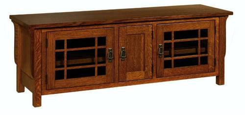 Mission Stickley Revival Style Entertainment Console Furniture