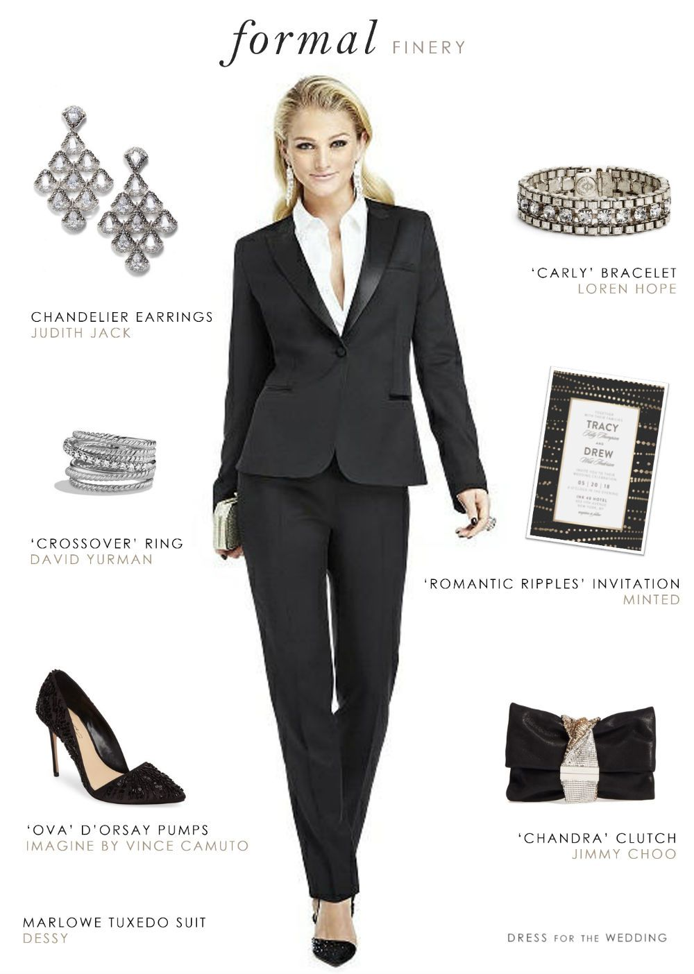 A Style Idea For Women S Tuxedo Wedding Or Black Tie Event This Feminine