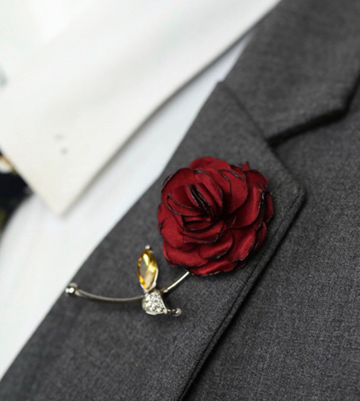 Red Rose Flower Lapel Pin, Enamel Pin Cloth Art Accessories Brooch Pin Men Women Pin, Groomsmen Boutonniere Fashion Wedding Favors Suit Pin is part of Clothes Art Flower - Red Rose Flower Lapel Pin Red Women Men Cloth Brooch pin   Red Rose Flower Lapel Pin Silver Metal Women Men Cloth Brooch pin Flower and Metal Gold Pin and Barrel   As a gift, for weddings, the office, date night Perfect every single day! This lapel flower adds an excellent pop of color to any outfit!              SAME DAY SHIPPING Perfect Size for her dress, Tuxedo suit, jacket pin