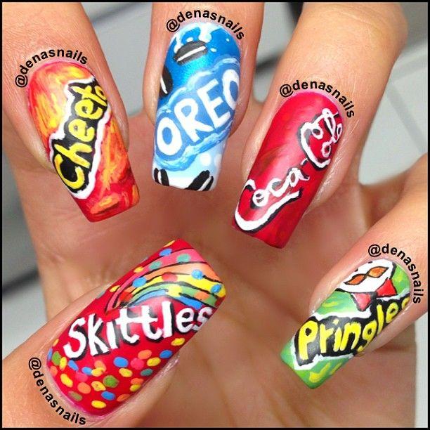 Awsome Nails Including Pringles Smarties Cheetos Oreos And Coca Cola