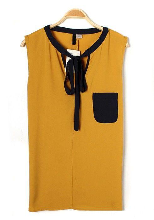 Yellow Patchwork Drawstring V-neck Sleeveless Pockets Chiffon Blouse