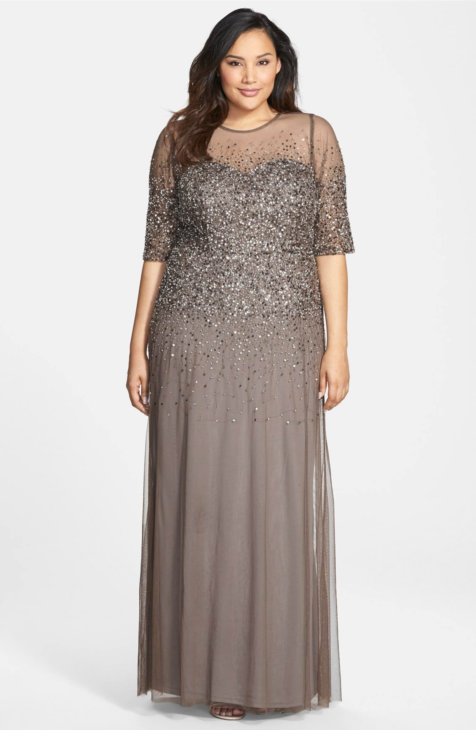 Mothers dress for wedding plus size  Beaded Illusion Gown  Mothers Illusions and Adrianna papell