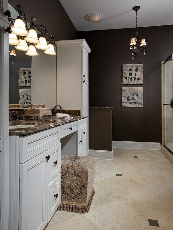 Inspiring Dark Brown Paint Colors for Your Walls: Awesome Transitional  Bathroom Design With Dark Brown