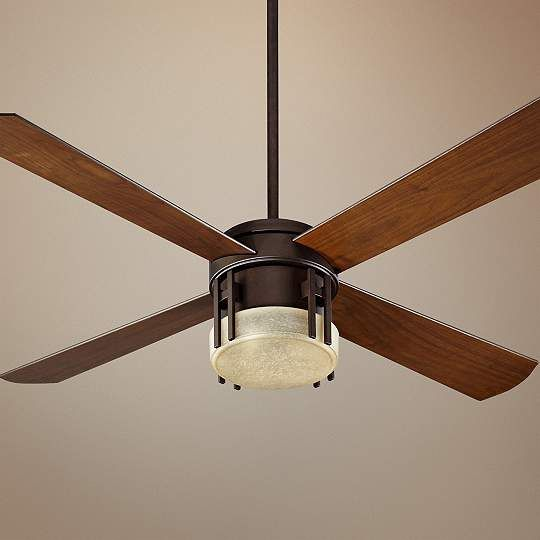 """Quorum Mission Ceiling Fan - 52"""" Oiled Bronze - #EUP5078 - Euro Style Lighting"""