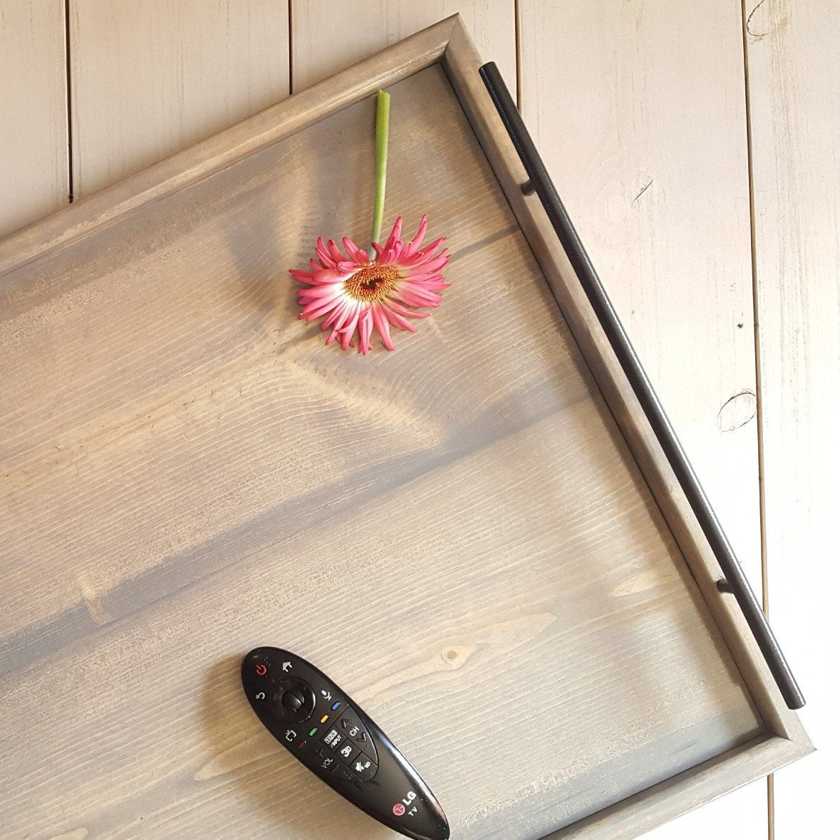 Decorative Tray Endearing Xl Rustic Serving Tray  Black Metal Handles Large Wood Serving Decorating Design