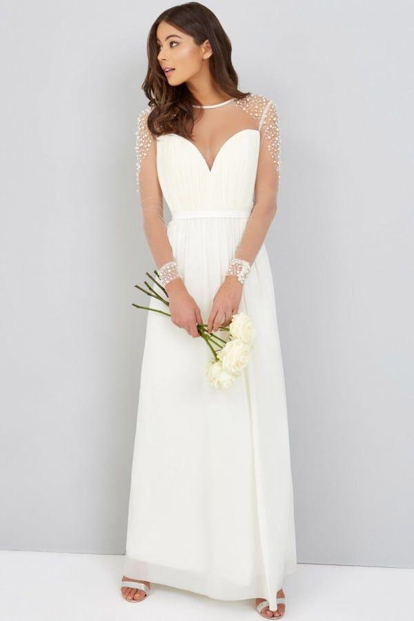 Little Mistress Pearl Chiffon Wedding Dress Impressive Fashion