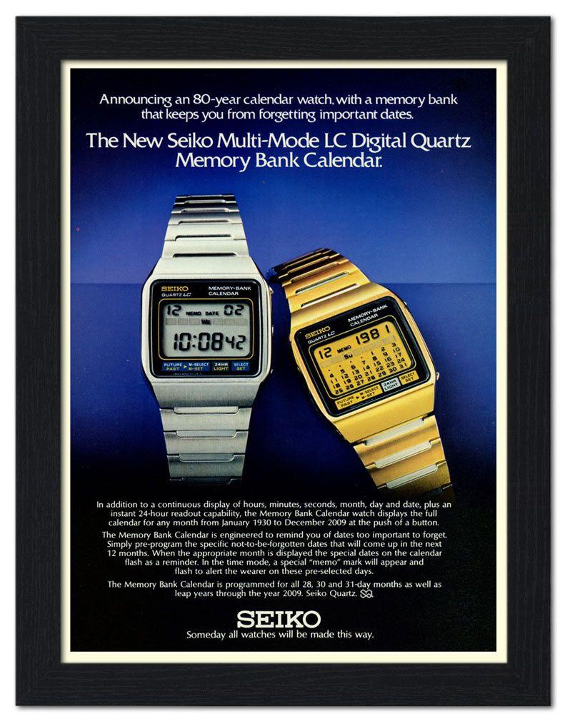 AP-FRAME-1667 - Seiko Digital watch Advert, 1970s - Framed Print 32x42cm Black