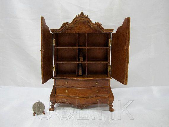 Miniature 1:12 Scale Walnut Dutch Baby House For Doll ...