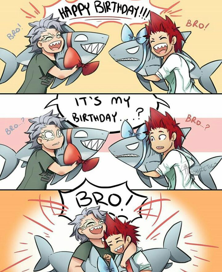 When Kirishima and Tetsutetsu realize, they are long lost twin brothers. Me: It's about fucking time!
