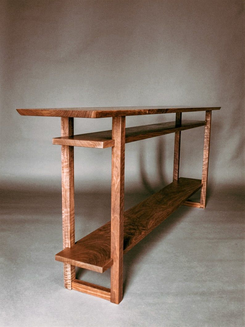 Long Narrow Wood Table with Two Shelves: Console Table for ...