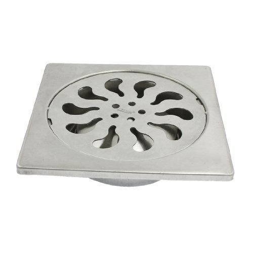 Amico 4 Sink Outlet Square Floor Drain Strainer Cover Silver Tone