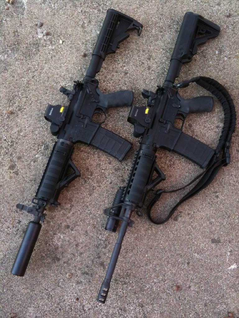 Rock River AR-15 SBR with AAC Suppressor, beside a 16\