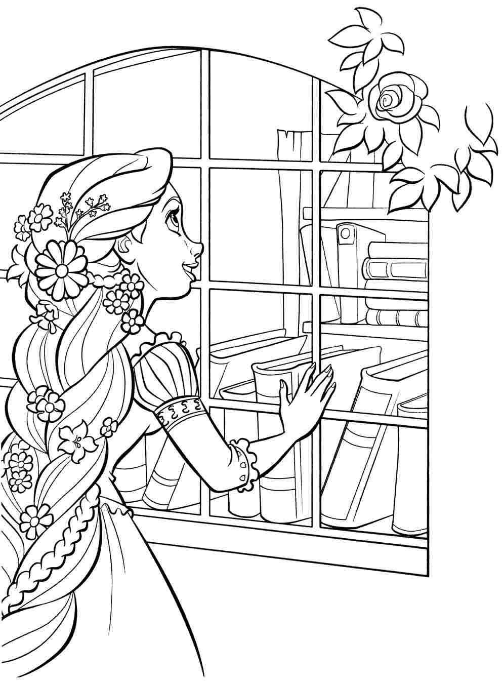 Раскраска Рапунцель с цветами в волосах | Раскраски ...