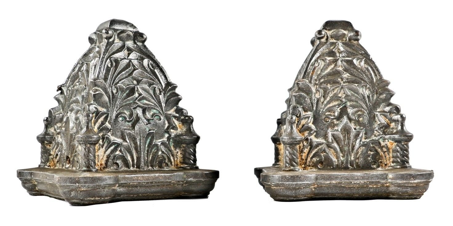 Matching Set Of Original 19th Century Antique American Heavily Ornamented Cast Iron Brushed Metal Chicago Commercial Building Newel Post Caps Post Cap Antiques
