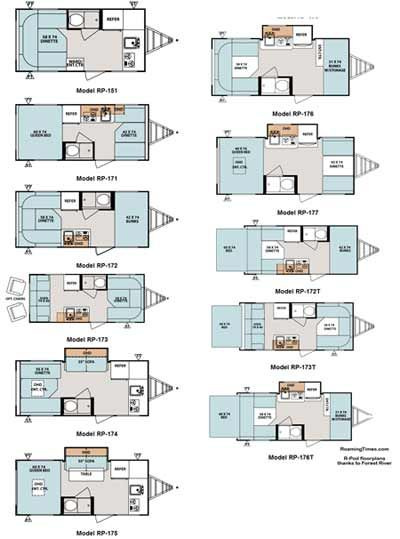 a3b1b438c0ecaf4eb9391b1f046d834f 2011 forest river r pod travel trailer floorplans 11 models  at bakdesigns.co