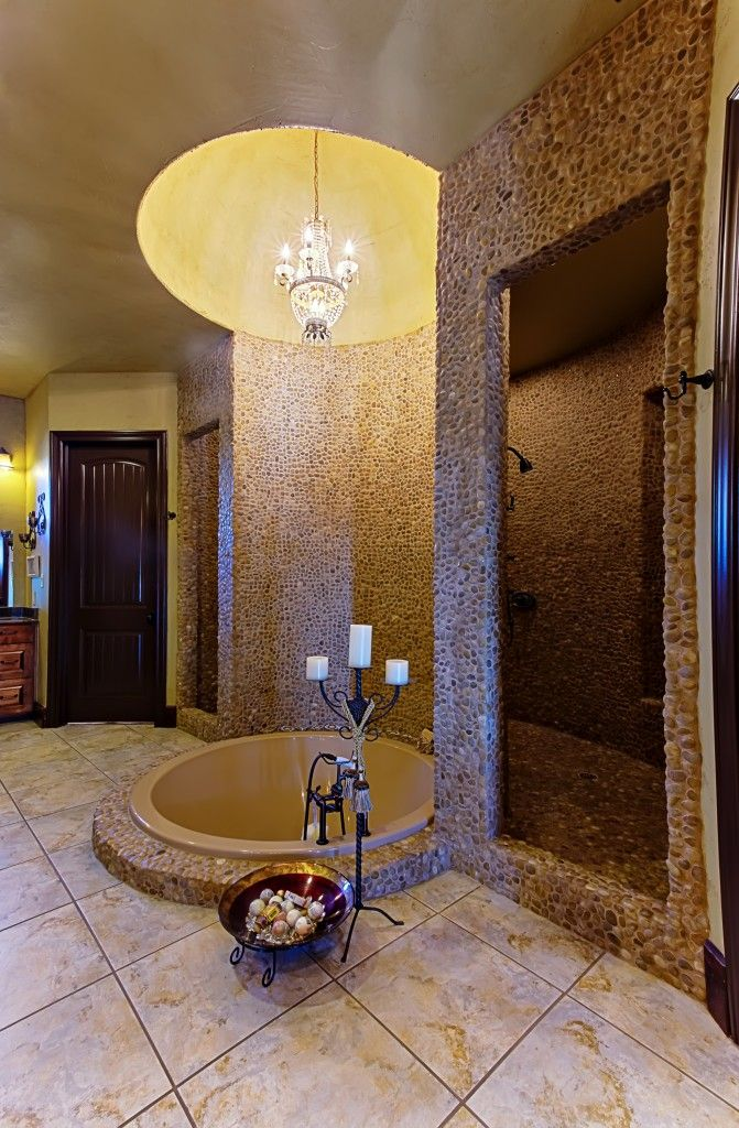 Beautiful master bathroom with walk through shower for Custom master bathroom designs