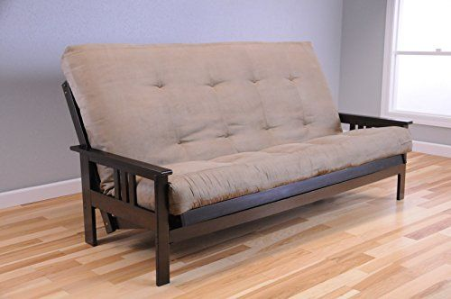 Queen Size Montreal Espresso Futon Frame W 8 Inch Innerspring Mattress Sofa Bed Modern Futons Peat
