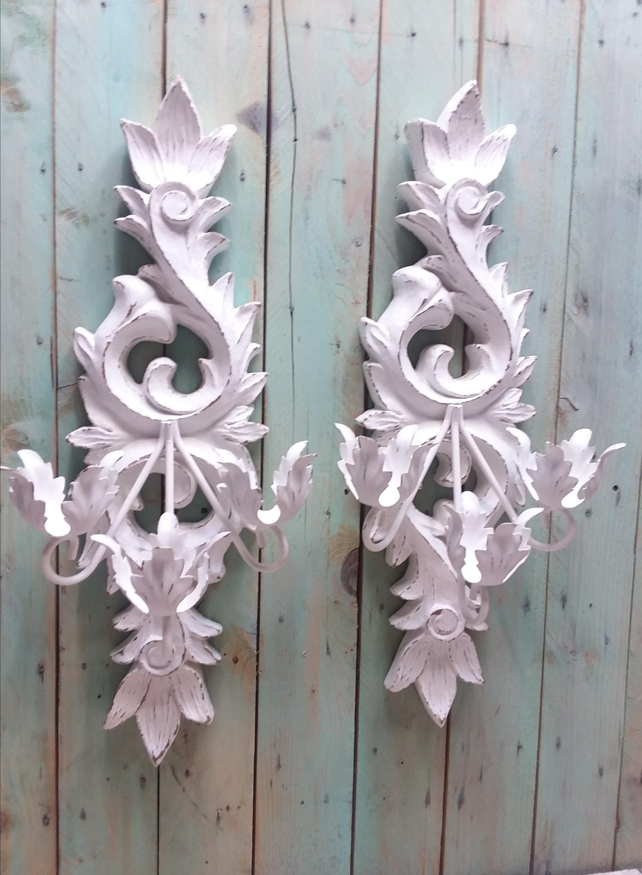 Large Shabby Chic Vintage Ornate Candle Wall Sconces Painted Antique White And Distressed By Classykassie Wall Candles Candle Wall Sconces Outdoor Wall Sconce