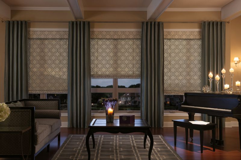 Draperies with Back Tab and Seamless Roman Shades