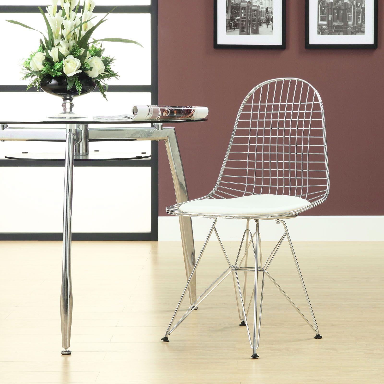 Wire Tower White Vinyl CushionSide Chair