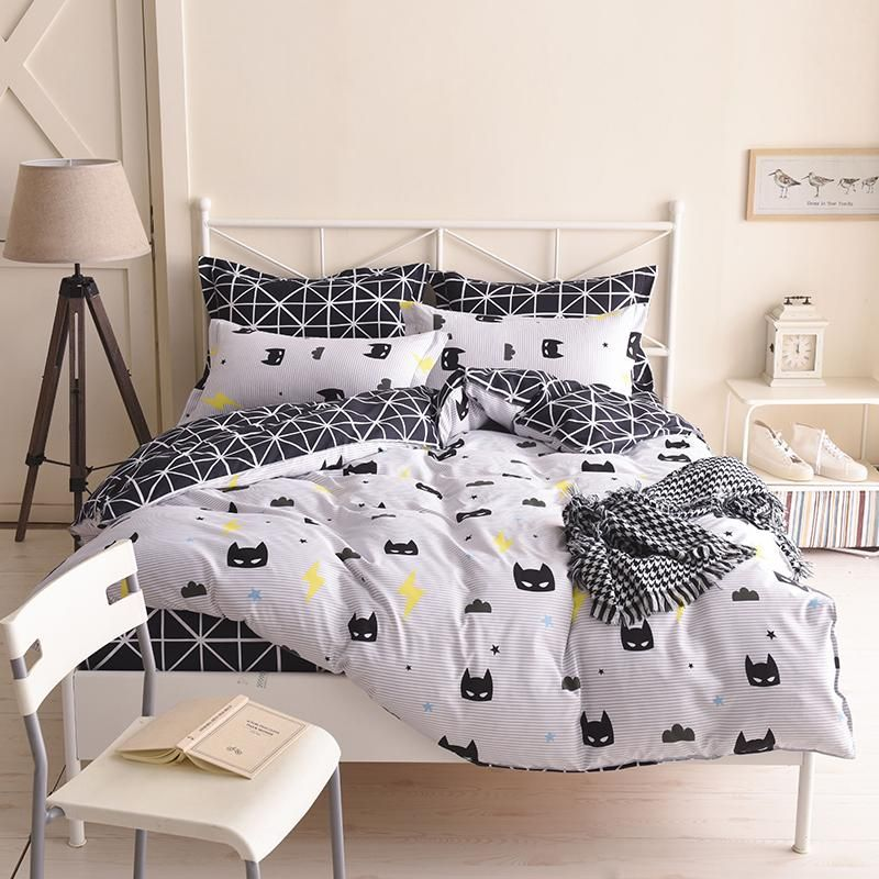 USA Russian Cartoon Bedding Sets Soft Kids Duvet Cover Set Quilt Cover Bed  Set Single King