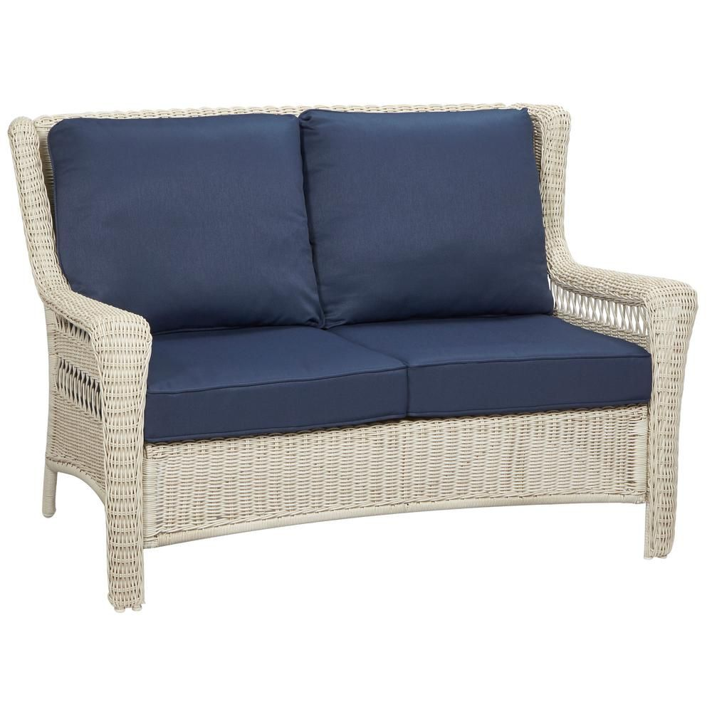 Hampton Bay Park Meadows White Wicker Outdoor Loveseat With Midnight  Cushion 65 21453W   The Home Depot