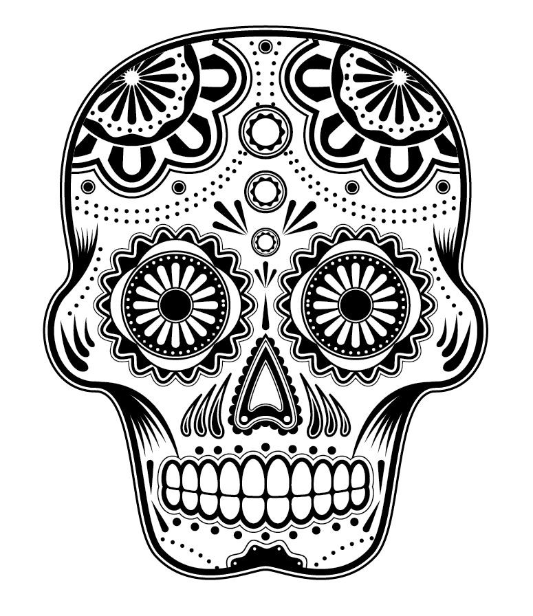 printable black and white art | the full image of a detailed ... - Simple Sugar Skull Coloring Pages