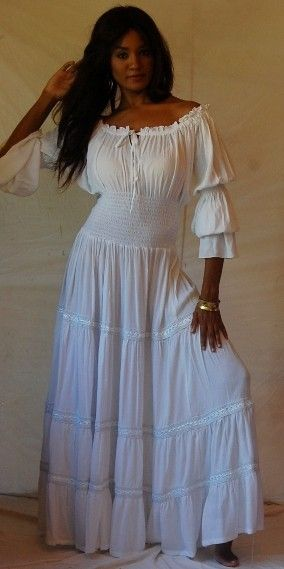 95d7d0e8ee3 ZR981 WHITE DRESS-PEASANT-RUFFLED-SMOCKED- LACE- SEXY- PLUS SIZE-4X 5X 6X