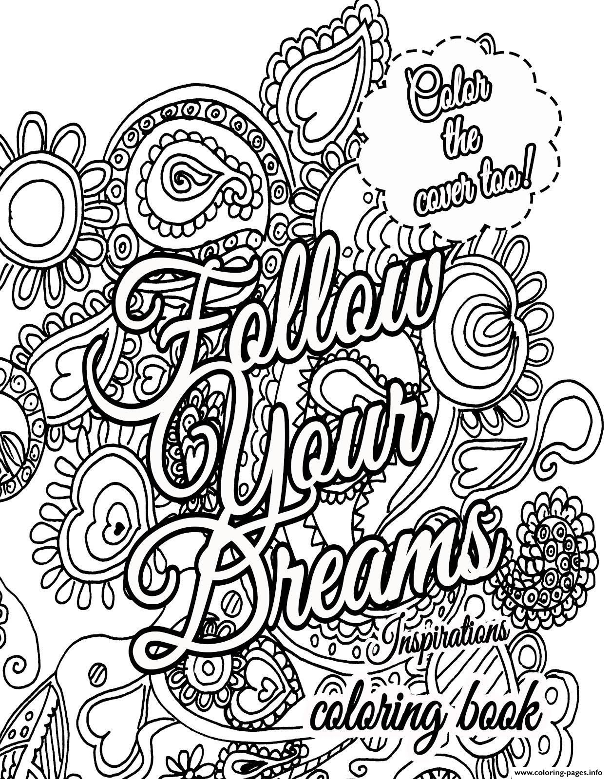 Print Quote About Dream For Adults Coloring Pages