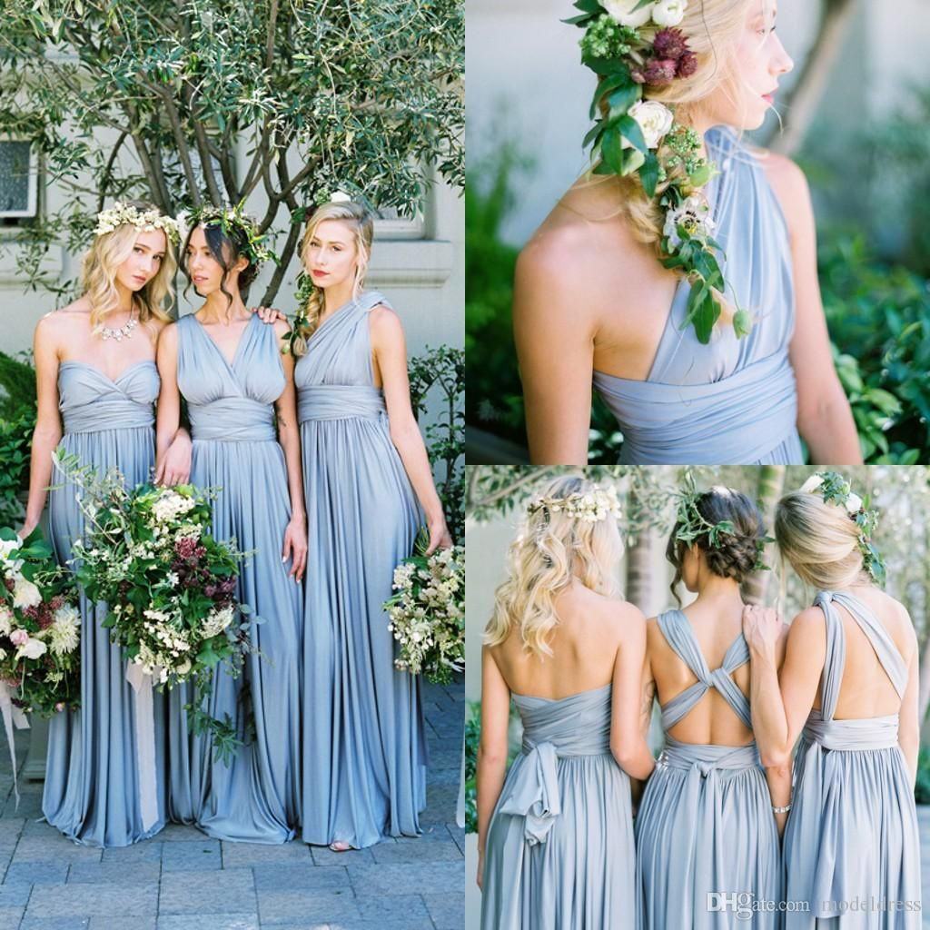 Dresses to wear to a beach wedding as a guest   New Dusty Blue Convertible Bridesmaid Dresses Eight Ways To