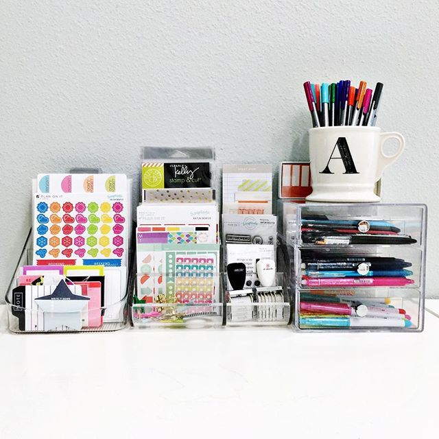 I've been cleaning and organizing today and decided to set up this little #planning station #onmydesk so I have all my #planner supplies at my fingertips!