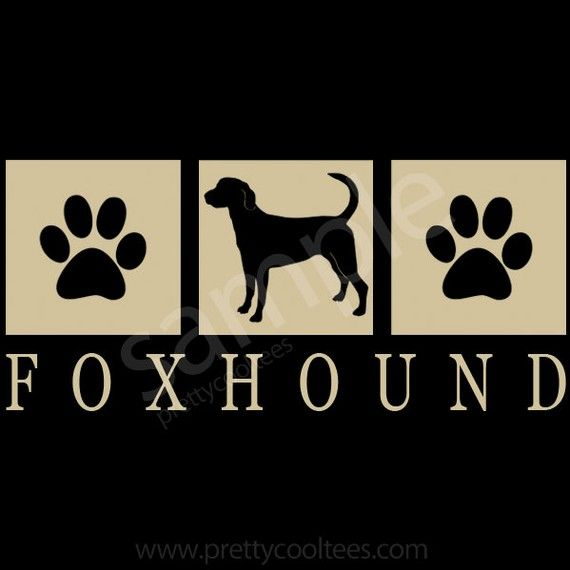 Foxhound Dog Silhouette Paws T-Shirt - S to 5XL