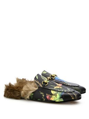 4caae44858a GUCCI Princetown Fur-Lined Bird-Print Leather Slippers.  gucci  shoes  flats
