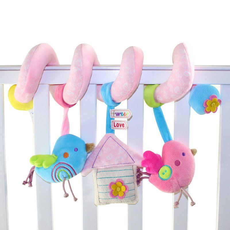 Pájaro del estilo recién nacido cochecito de bebé de la felpa toys cama coche colgando jugando toys musical niños bebé sonajeros mobiles regalo