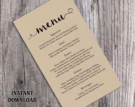 Printable Wedding Menu Template DIY Menu Card Template Heart Menu - menu template for word