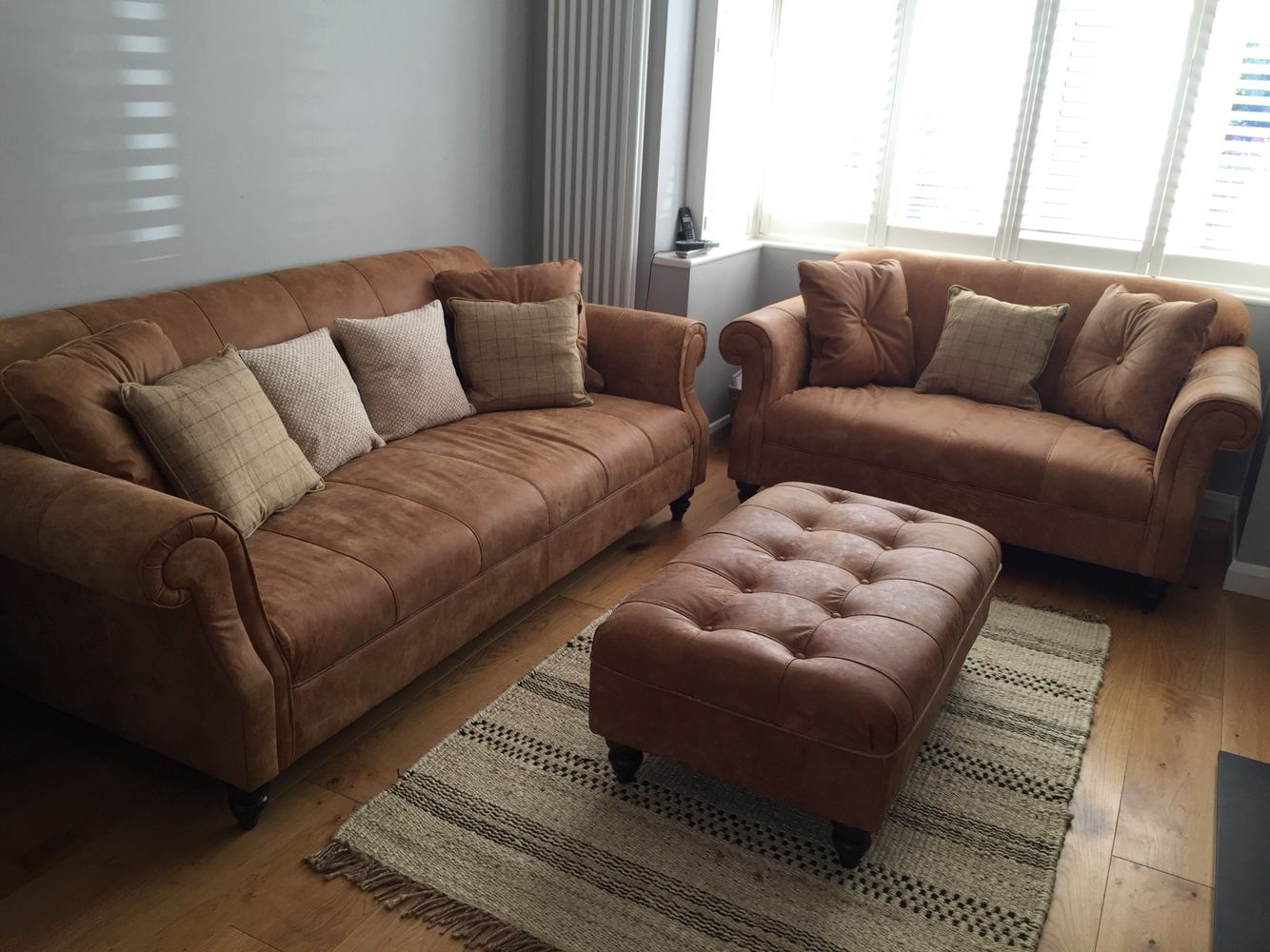 Tan Leather Sofa Grey Walls Natural Rug Living Room White Shutter Blinds Oak Floors