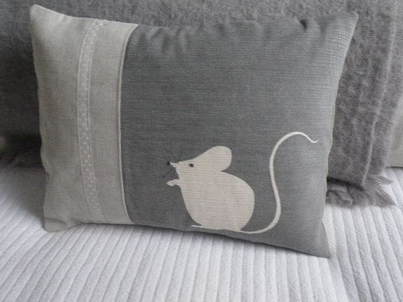 Hand printed grey mouse cushion