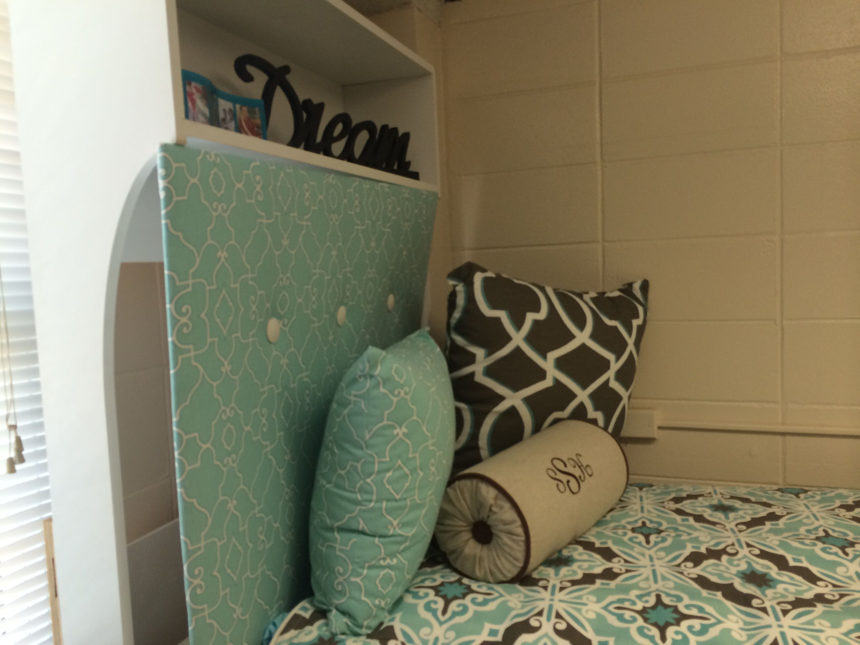 Headboard and shelf dorm sweet dorm pinterest