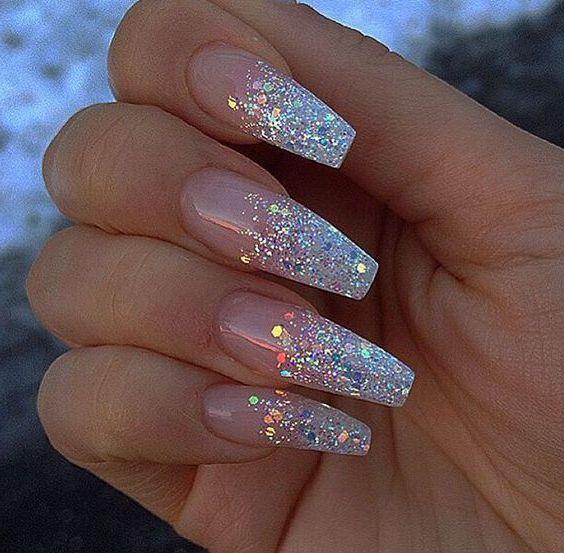 Clear Glitter Acrylic Nails Clear Glitter Nails Sparkle Acrylic Nails Glitter Nails Acrylic