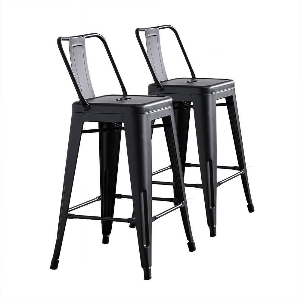 Set Of 2 24 Metal Counter Height Barstools With Bucket Back Matte Black Ac Pacific Metal Bar Stools Bar Stools Counter Height Bar Stools