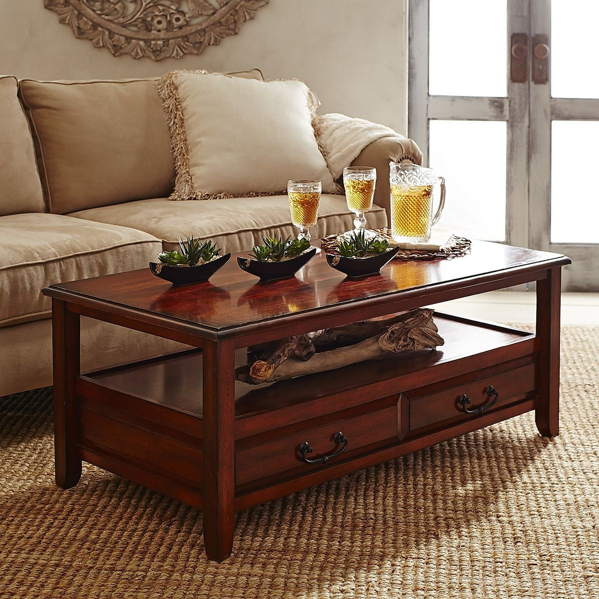 Anywhere tuscan brown coffee table with pull handles