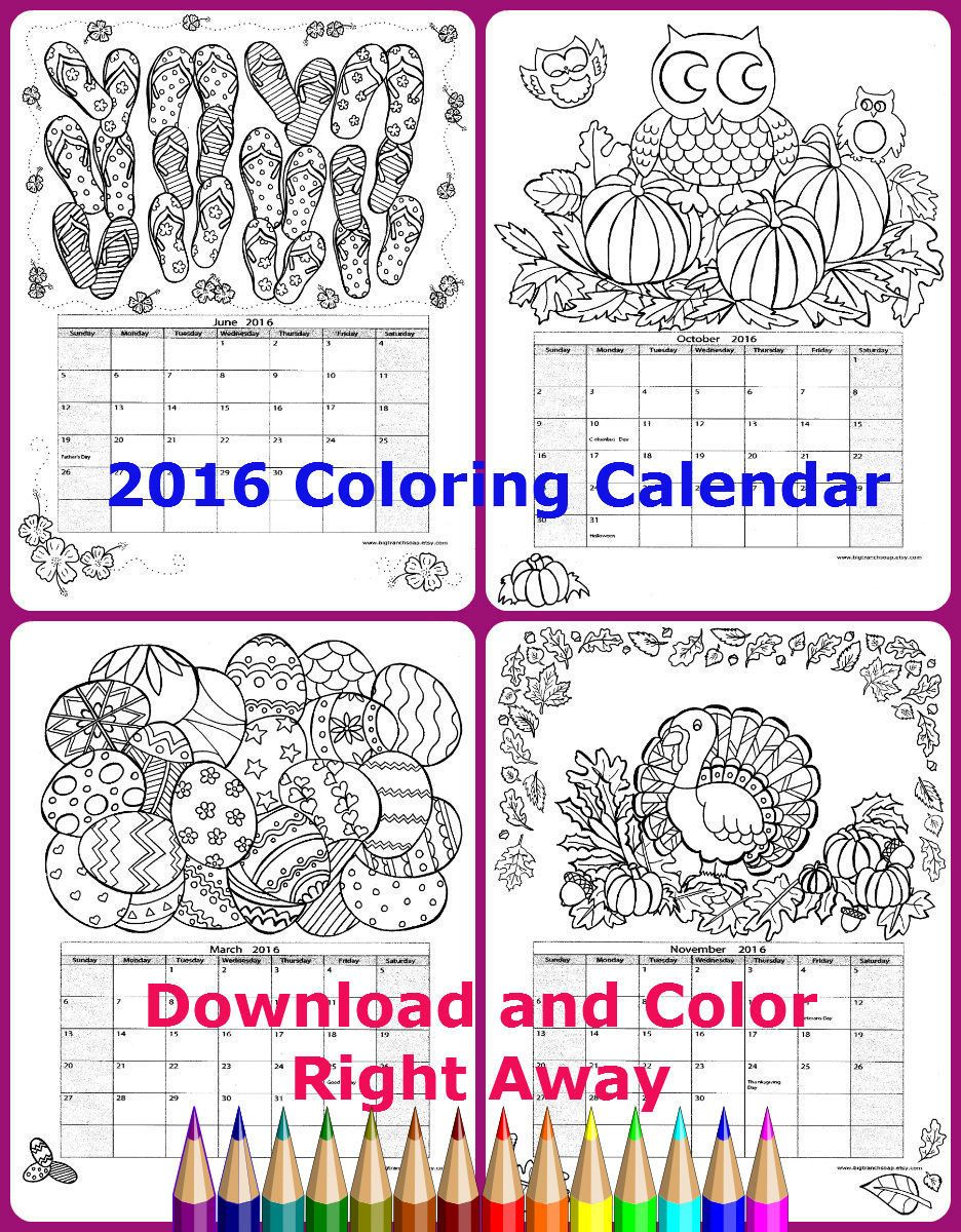 Adult Coloring Calendar - 2016 - 12 Original Hand Drawn Images ...